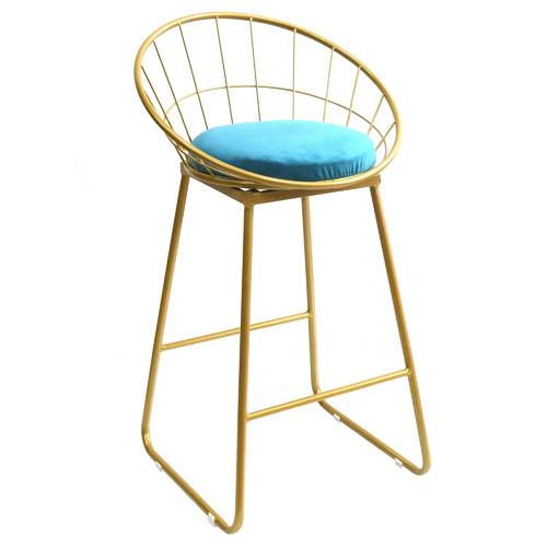 67cm Chambers Velvet Barstool Seat Colour: Blue