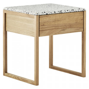 Tarquin Terrazzo Bedside Table Colour: Natural by Temple & Webster, a Bedside Tables for sale on Style Sourcebook