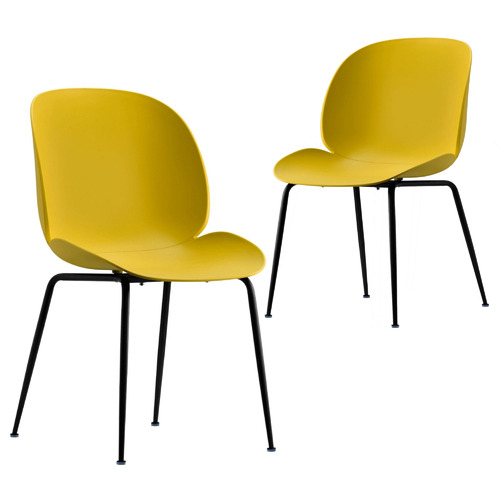 Set of 2 Tristan Beetle Dining Chairs Colour: Yelow