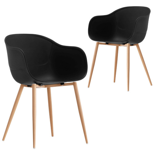 Set of 2 Willis Beetle Dining Chairs Colour: Black