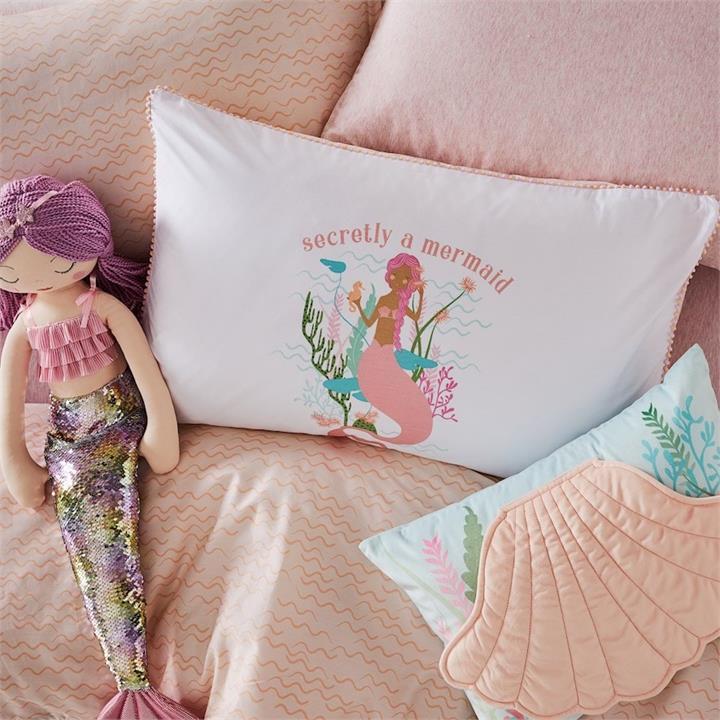Adairs Kids Decorative Text Pillowcase 18   Mermaid Wishes