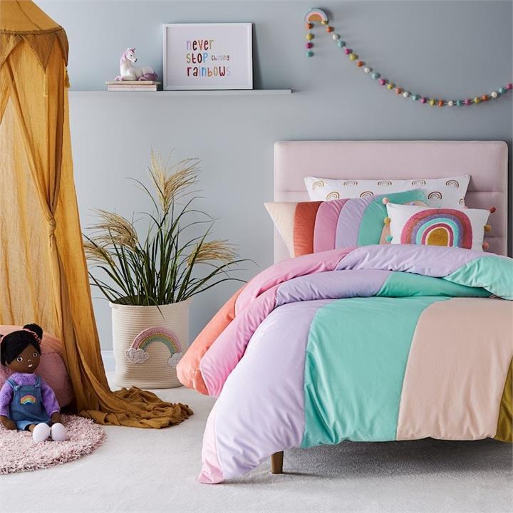 Adairs Kids Rainbow Sunrise Velvet Quilted Bedlinen DB Multi Quilt Cover Set