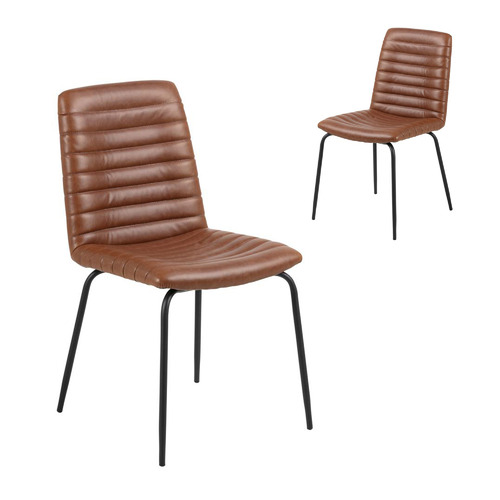 Set of 2 Flynn Faux Leather Dining Chairs Colour: Brown