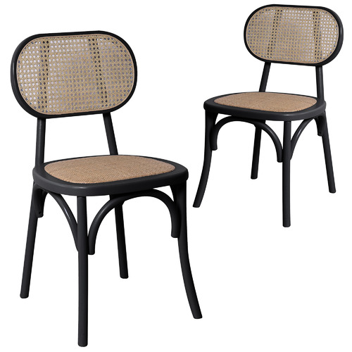 Set of 2 Kalvin Rattan Dining Chairs Colour: Black