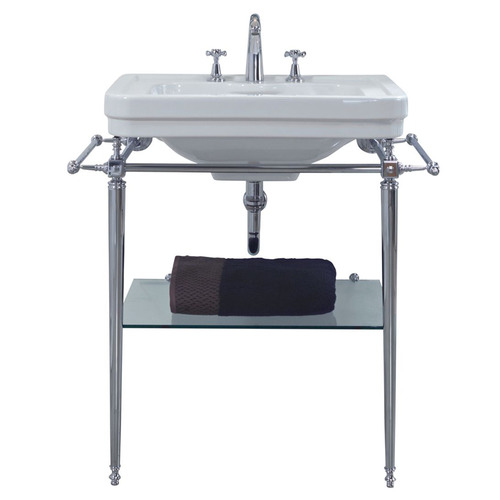 62 x 50cm Stafford Vitreous China Basin with Stand Number of Tap Holes: 3 tap holes, Stand Colour: Chrome