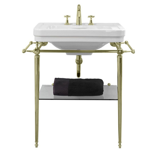 62 x 50cm Stafford Vitreous China Basin with Stand Number of Tap Holes: 1 tap hole, Stand Colour: Gold
