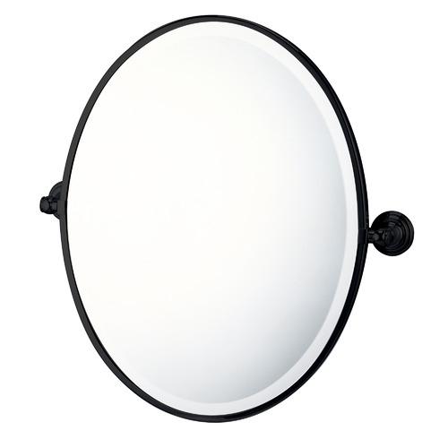 Mayer Wall Mounted Oval Pivot Mirror Colour: Black