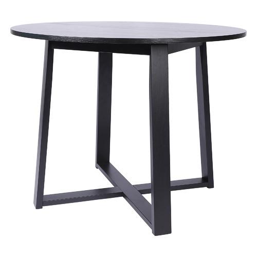 Black Olwen Round Oak Dining Table