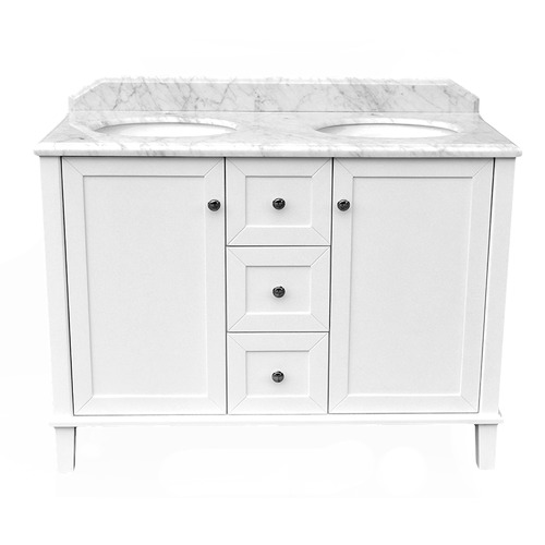 120 x 55cm Coventry Marble Top Double Bowl Vanity Unit Number of Tap Holes: 3 tap holes