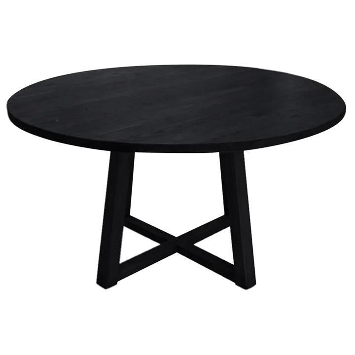 Comoros Oak Timber Round Dining Table, 140cm, Black