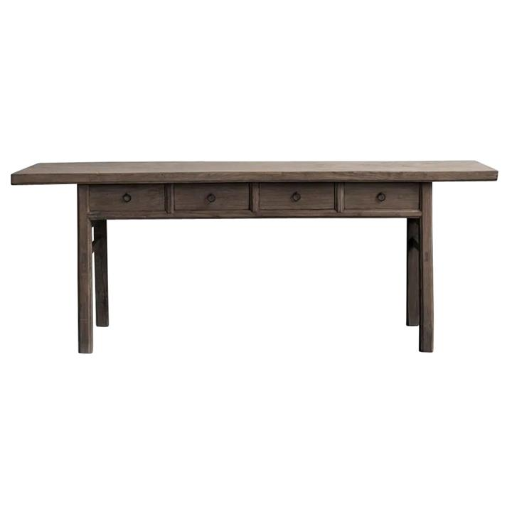 Yuntai 120 Year Antique Elm Timber Oriental Console Table, No.1381, 228cm