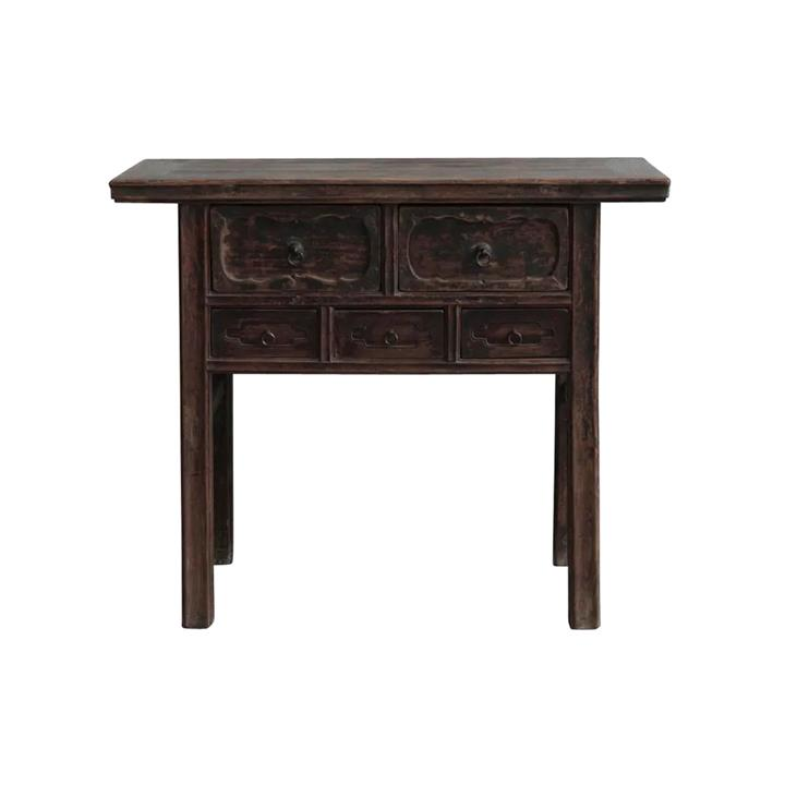 Moli 130 Year Antique Elm Timber Oriental Console Table, No.1418, 105cm