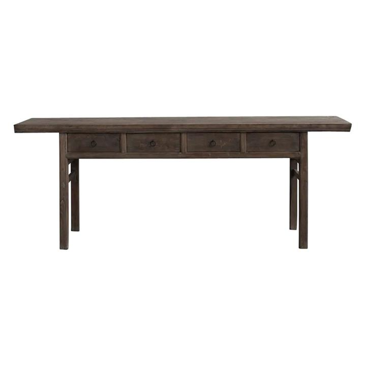 Yuntai 130 Year Antique Walnut Timber Oriental Console Table, No.1434, 222cm