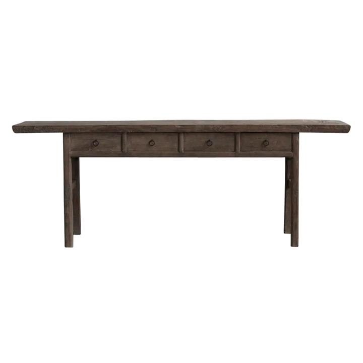 Yuntai 130 Year Antique Elm Timber Oriental Console Table, No.1435, 215cm