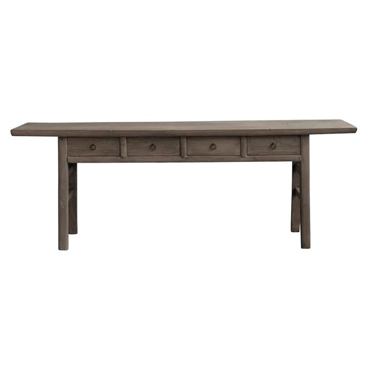 Yuntai 130 Year Antique Elm Timber Oriental Console Table, No.1436, 223cm