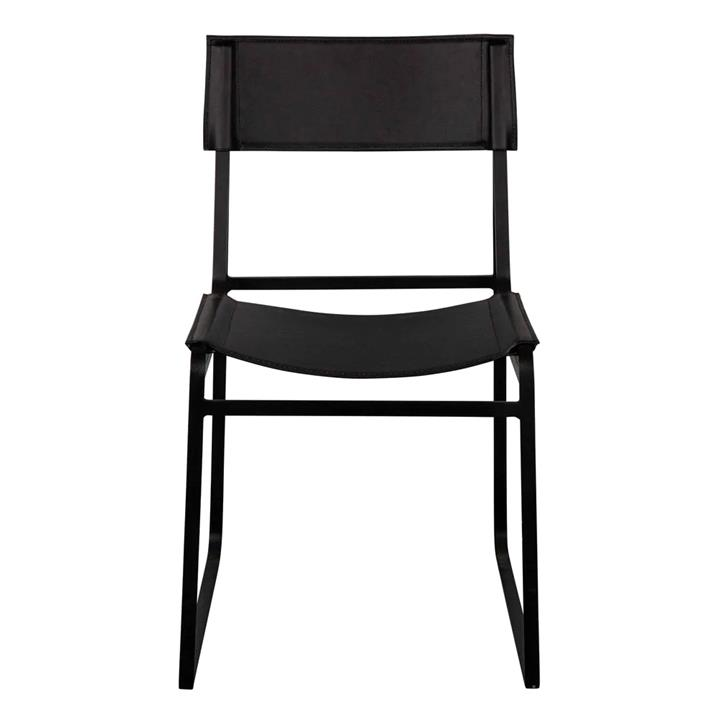 Troy Leather & Iron Dining Chair, Black