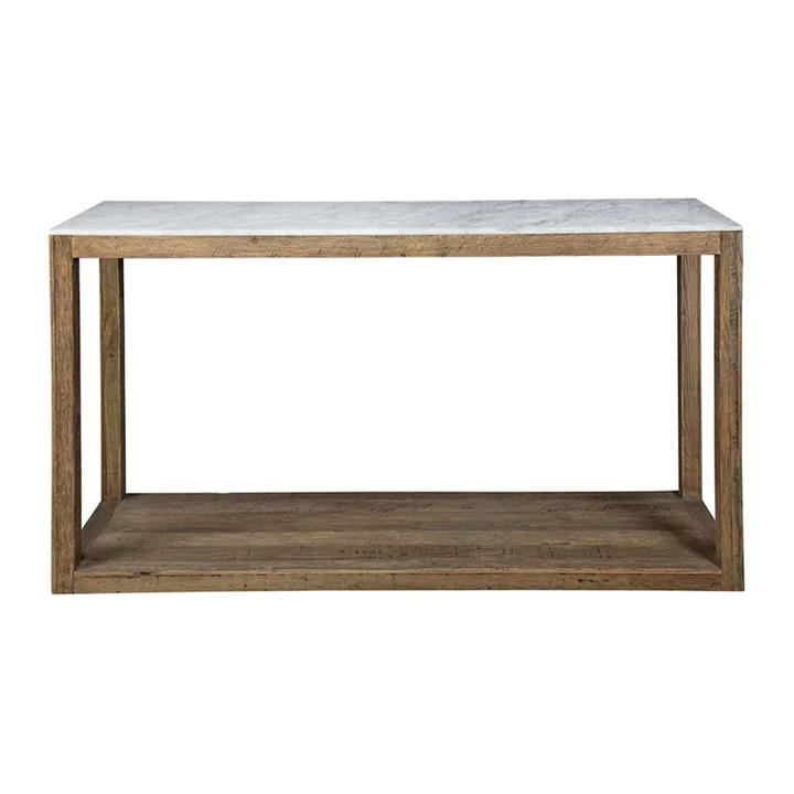 Aveyron Marble Topped Oak Timber Console Table, 150cm, Natural