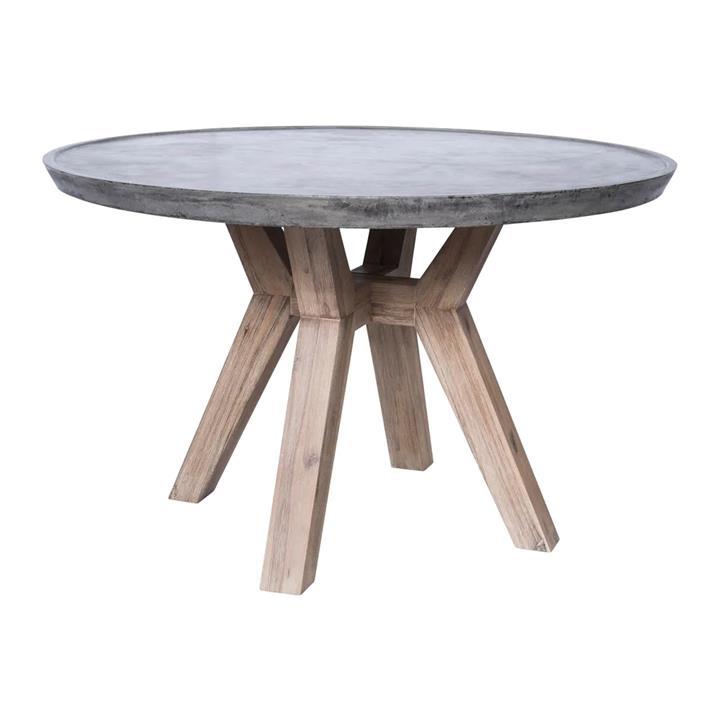 Tonga Concrete & Acacia Timber Round Dining Table, 130cm