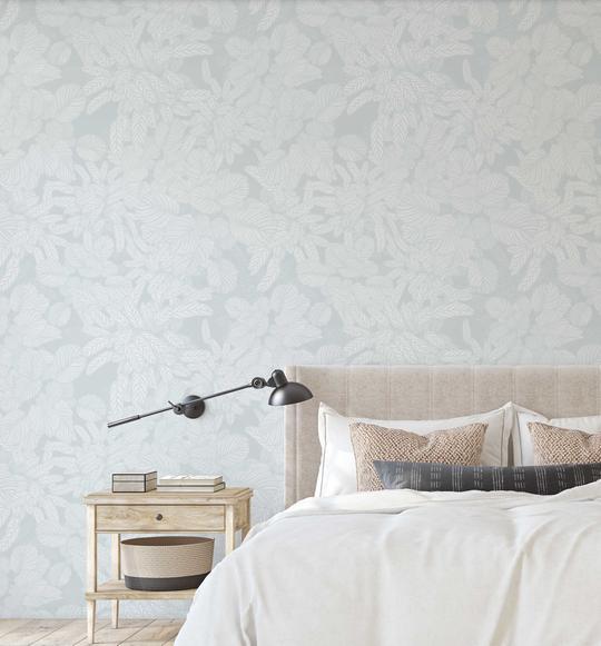 Soft Foliage   Duck Egg Blue Wallpaper