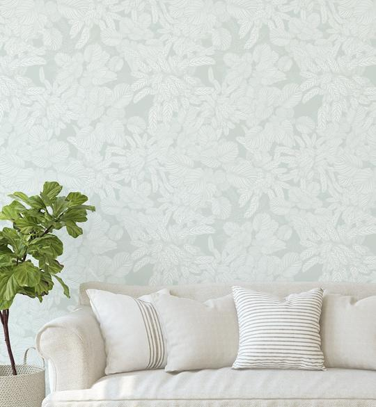 Soft Foliage   Sage Green Wallpaper