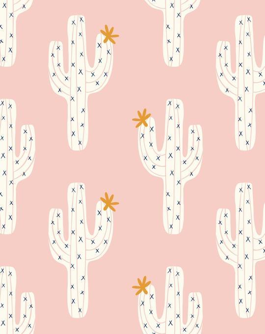 Cactus on Pink Wallpaper