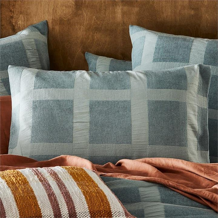 Home Republic Chenille Check Bedlinen Std Pair Cypress P/Case By Adairs