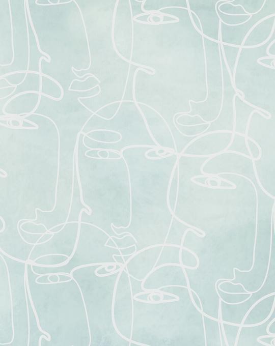 Faces in Seafoam Wallpaper