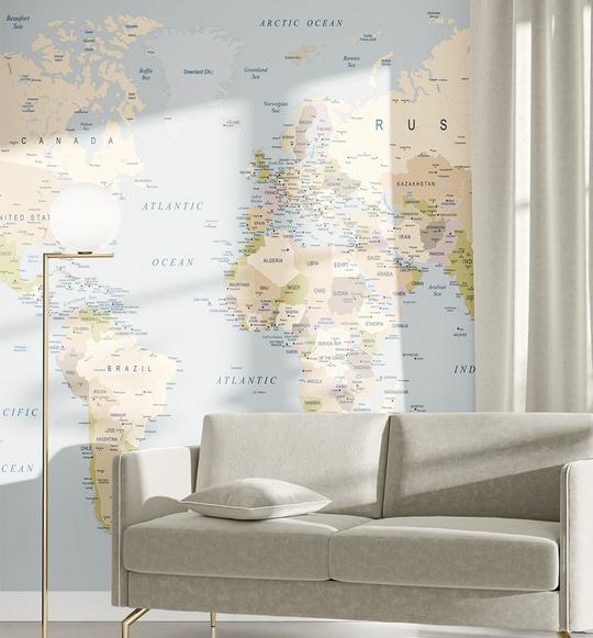 World Map I Wallpaper Mural