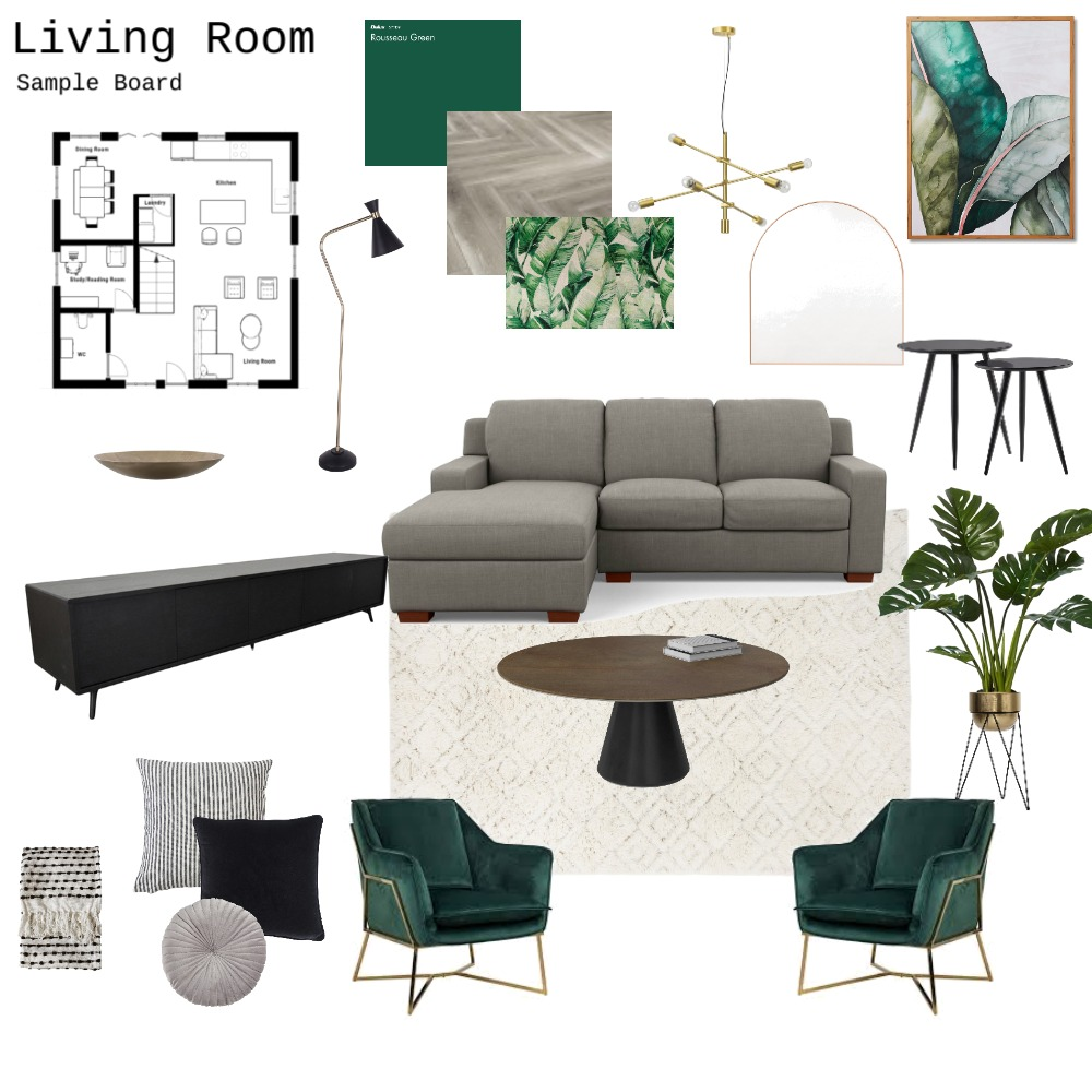 Living Room  - 9 Interior Design Mood Board by CarlaKM on Style Sourcebook