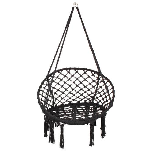 Macrame Cotton Hammock Swing Chair Colour: Black