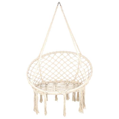 Macrame Cotton Hammock Swing Chair Colour: Cream