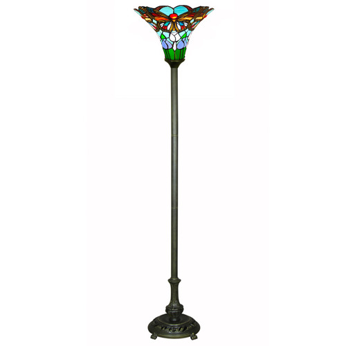 Butterfly Tiffany Stained Glass Torchiere Floor Lamp