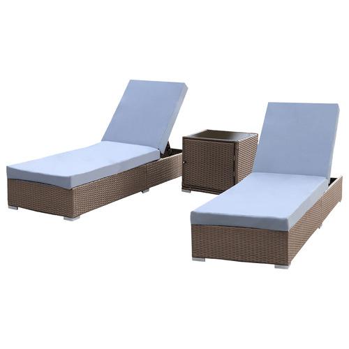 2 Seater Arcon PE Rattan Sun Lounge Set Colour: Brown