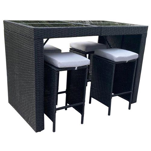 4 Seater Arcon PE Rattan Outdoor Bar Table Set Colour: Black