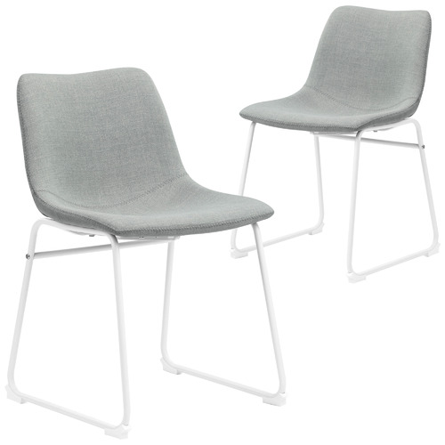 Set of 2 Grey & White Phoenix Contemporary Dining Chairs
