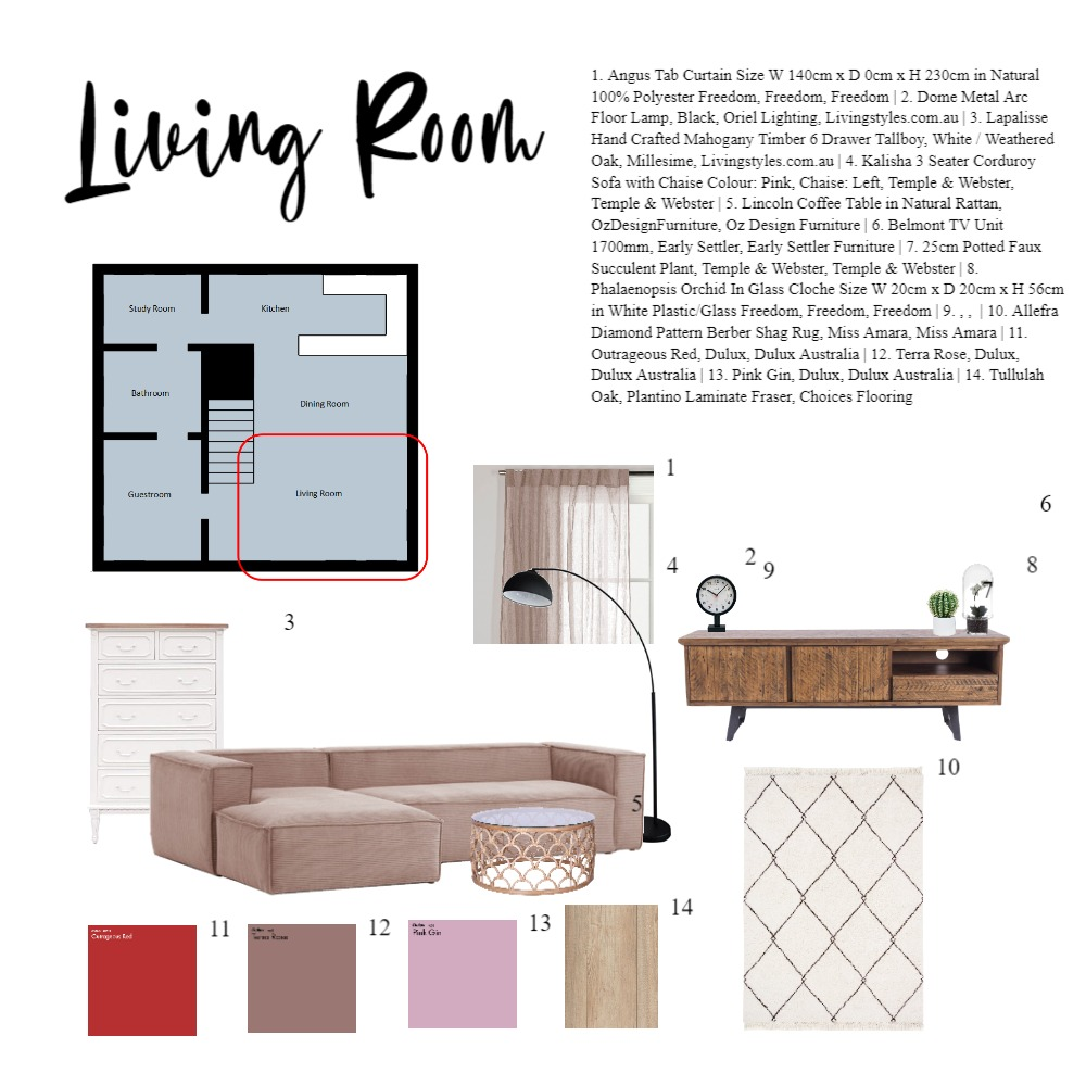 Living Room Mid century style Interior Design Mood Board by yonglongsim on Style Sourcebook