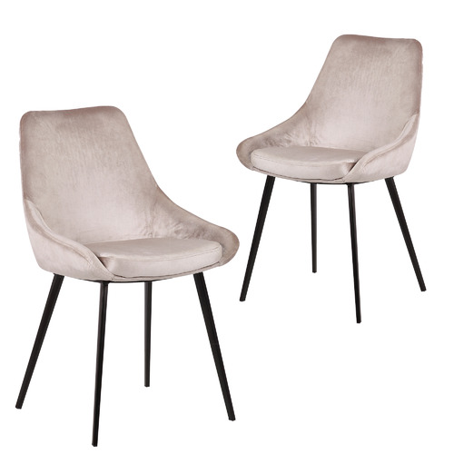 Set of 2 Daimyo Velvet Dining Chairs Colour: Champagne