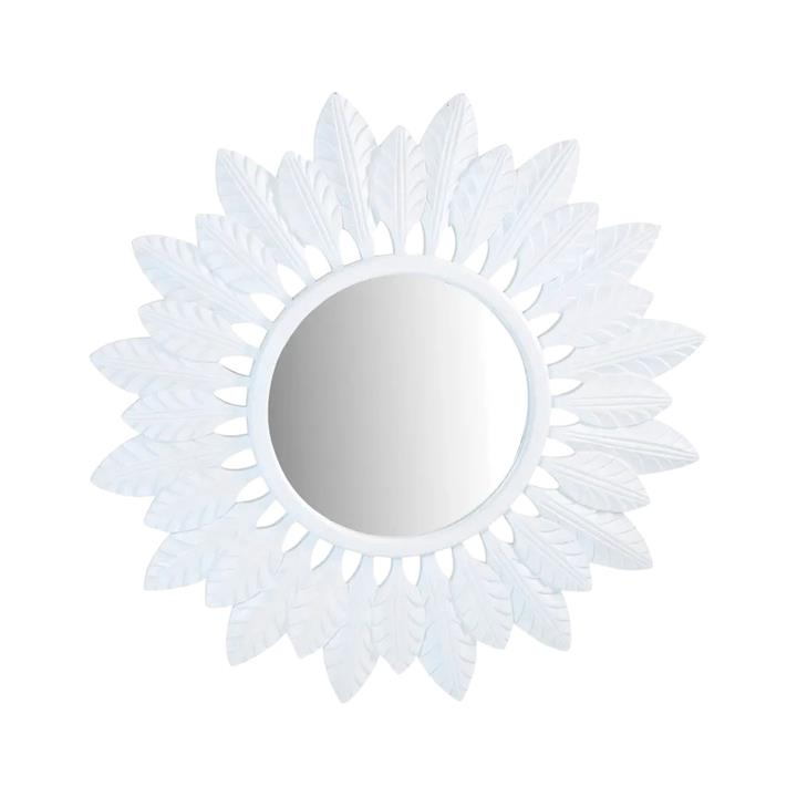 Catalina Metal Framed Round Wall Mirror, 120cm, White