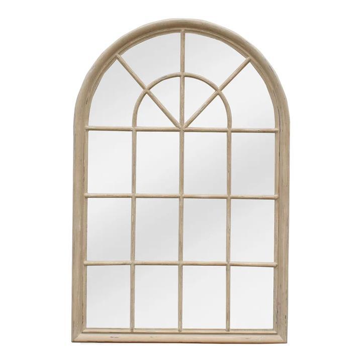 Mathews Wooden Frame Arch Window Wall Mirror, 150cm, Natural