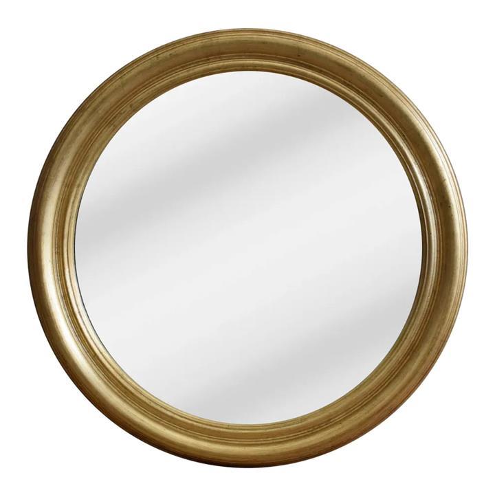 Lourdes Wooden Frame Round Wall Mirror, 84cm, Gold