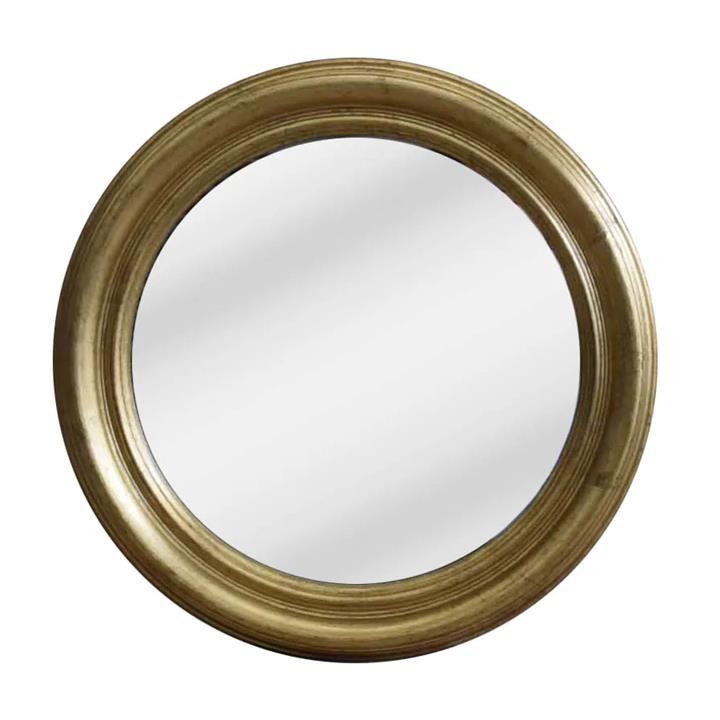 Lourdes Wooden Frame Round Wall Mirror, 47cm, Gold