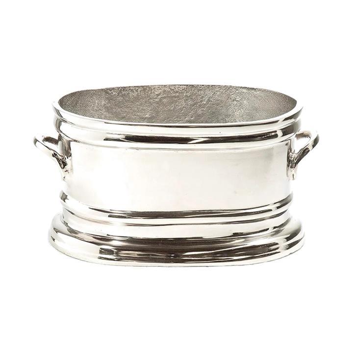 Thron Metal Oval Wine Tub, Small, Nickel