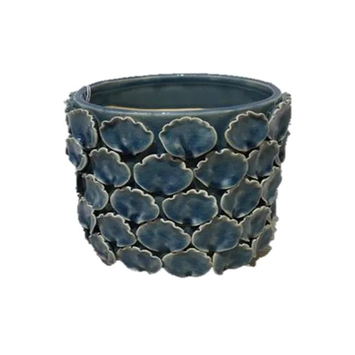 Marina Ceramic Pot, Small, Teal Blue