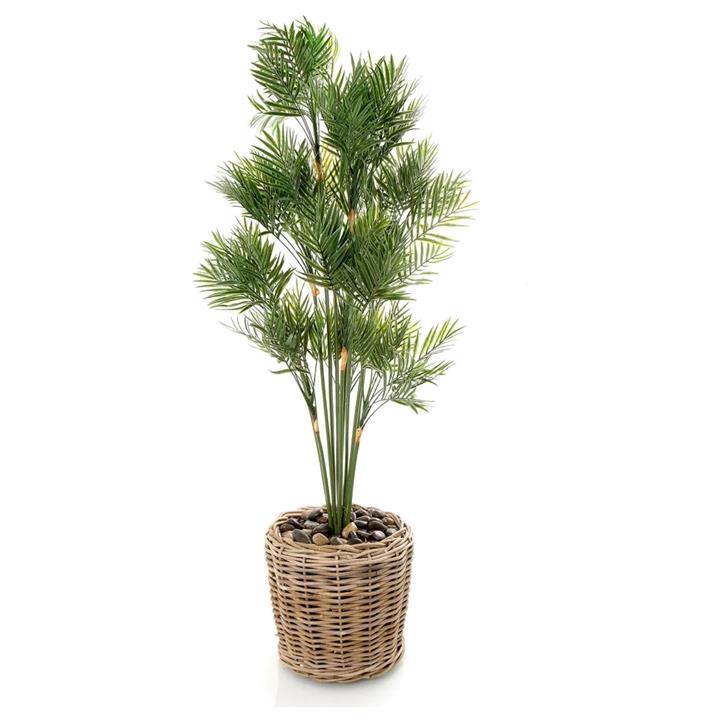 Artificial Parlour Palm Tree In Rattan Basket, 120cm