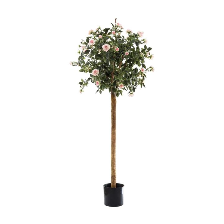 Artificial Rose Topiary Tree, Pink Flower, 120cm
