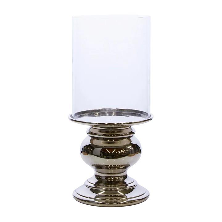 Steele Metal & Glass Hurricane / Candle Holder, Medium