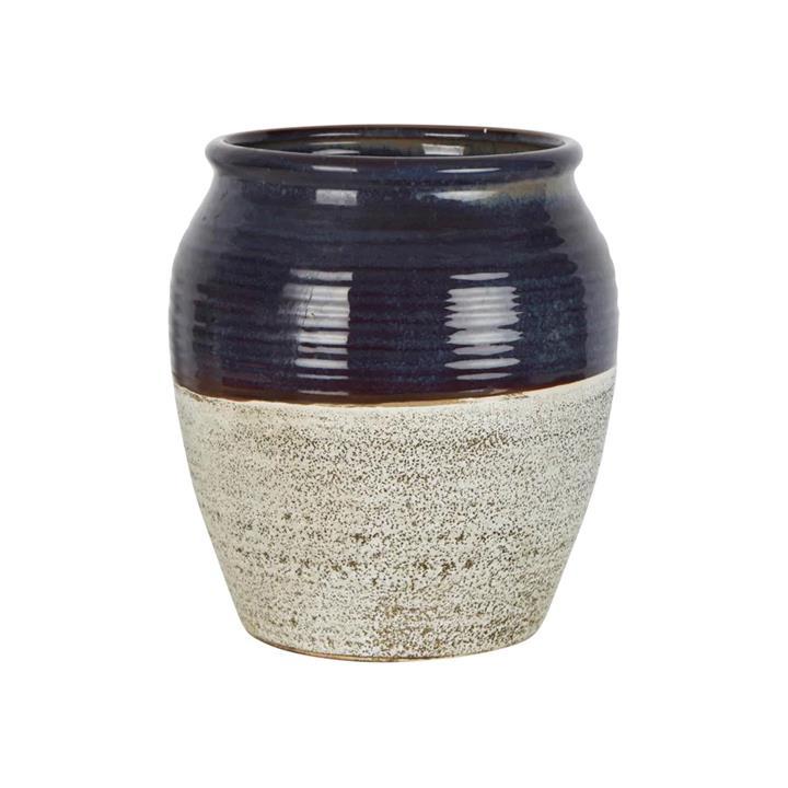 Tuscan Ceramic Pot, Large, Navy / Off White