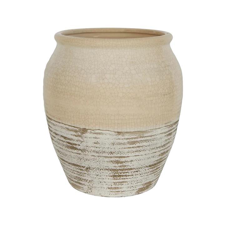 Tuscan Ceramic Pot, Large, Cream / Off White