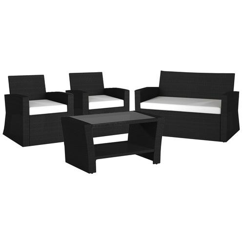 4 Seater Eathan Outdoor Sofa & Coffee Table Set Colour: Black