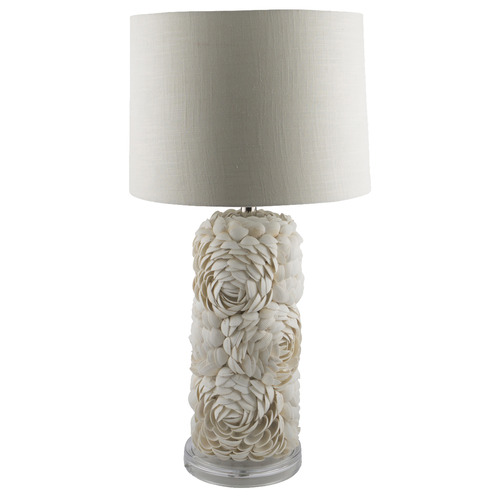 White Astley Layered Shell Table Lamp